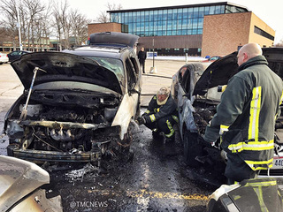 4 cars damaged at LCCC after van catches fire