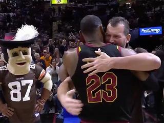 LeBron James and Joe Thomas share a moment