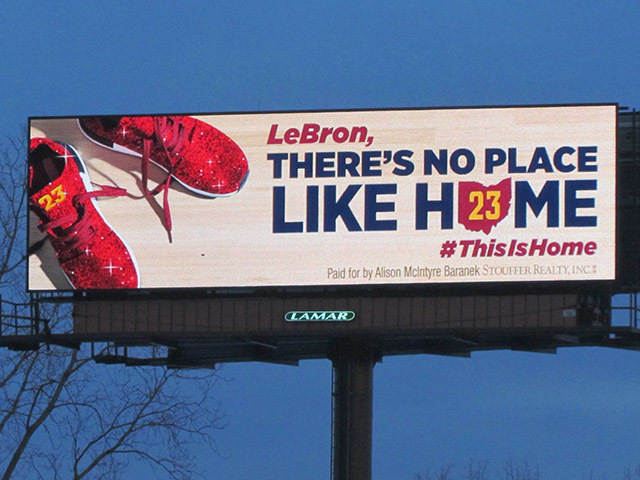 Akron billboard reminds LeBron, 'There's no place like home'