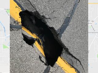 Sinkhole on I-90 causes lane closure