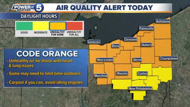 Air Quality Alert issued for most of Northeast Ohio, but