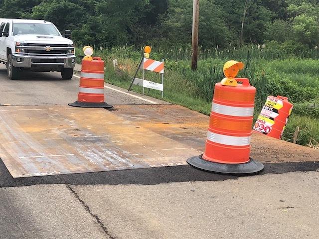 NEXUS pipeline construction puts hole in road
