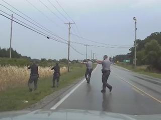 Dashcam shows wild chase of stolen police car