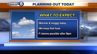 WEATHER: Warmer & hazy today, t-storms tonight