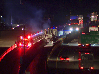 Semi truck catches fire on I-76 in Akron