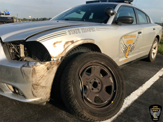 Trooper looking for driver who hit cruiser