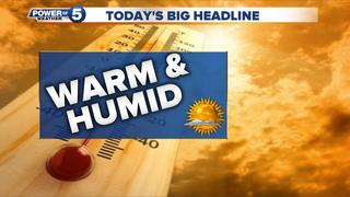 WEATHER: Humidity soars today, much warmer too