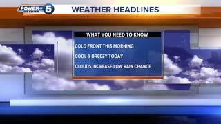WEATHER: Chilly today, low rain chance