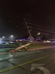 Portion of Snow Rd. closed due to car into pole