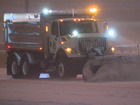 Slick road conditions for morning commute